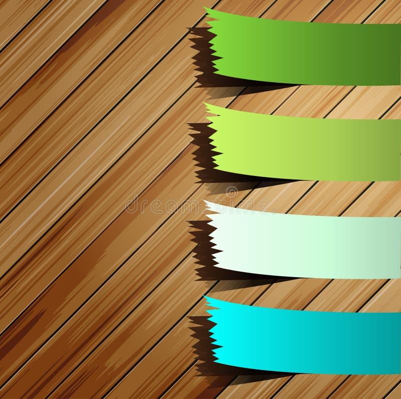 Na drewnie prezentacja kolorowy majcher ilustracja wektor