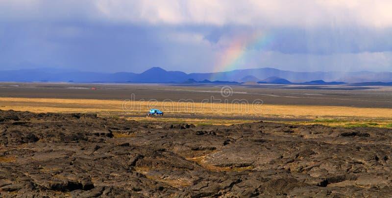 Na drodze, średniogórza, Iceland fotografia stock