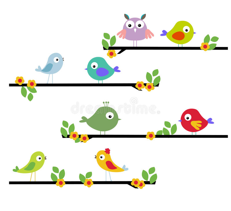 Na drzewie kreskówka ptak ilustracja wektor