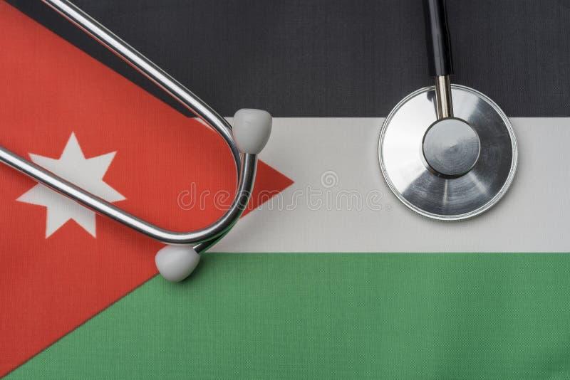 Na fladze Jordania jest stetoskop obrazy royalty free
