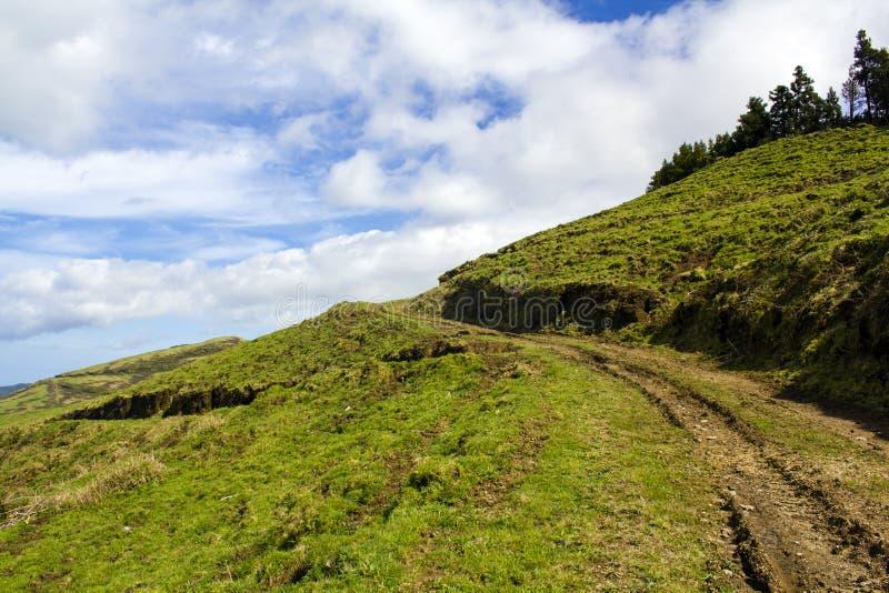 Na górze zielonego wzgórza z chmurnym niebieskim niebem zdjęcie royalty free