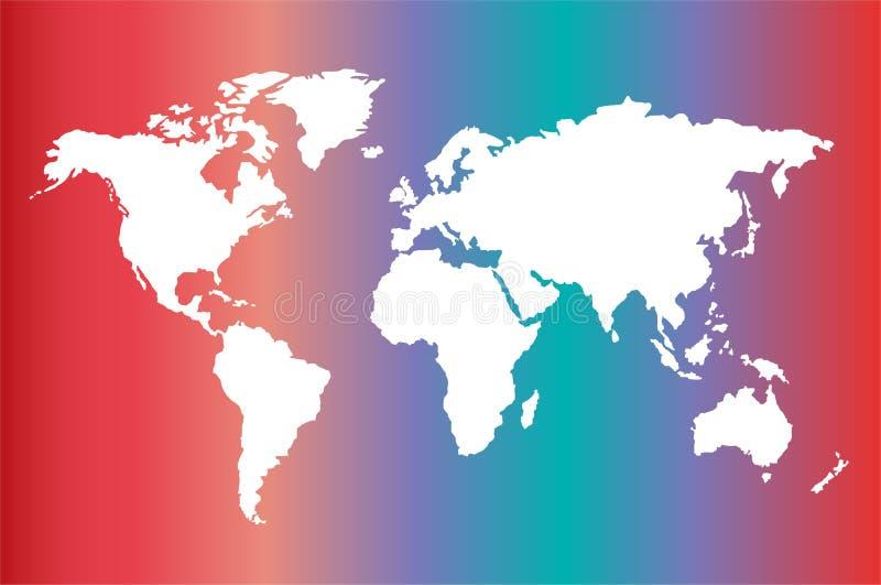 Na gradiencie światowa mapa ilustracja wektor