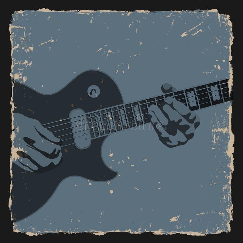 Na grunge tle gitara gracz royalty ilustracja