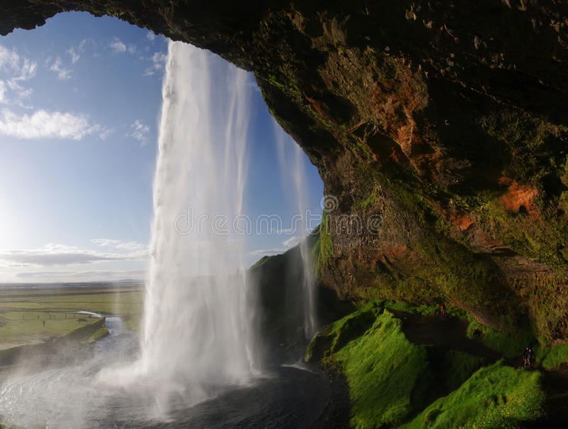 Na Iceland Seljalandsfoss watterfall zdjęcia stock