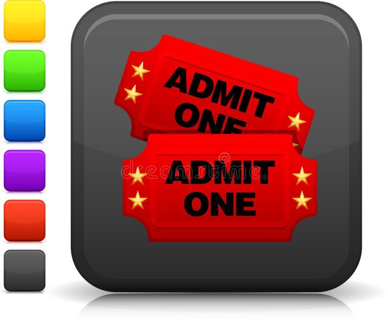 Na interneta kwadratowym guziku bilet kinowa ikona ilustracja wektor