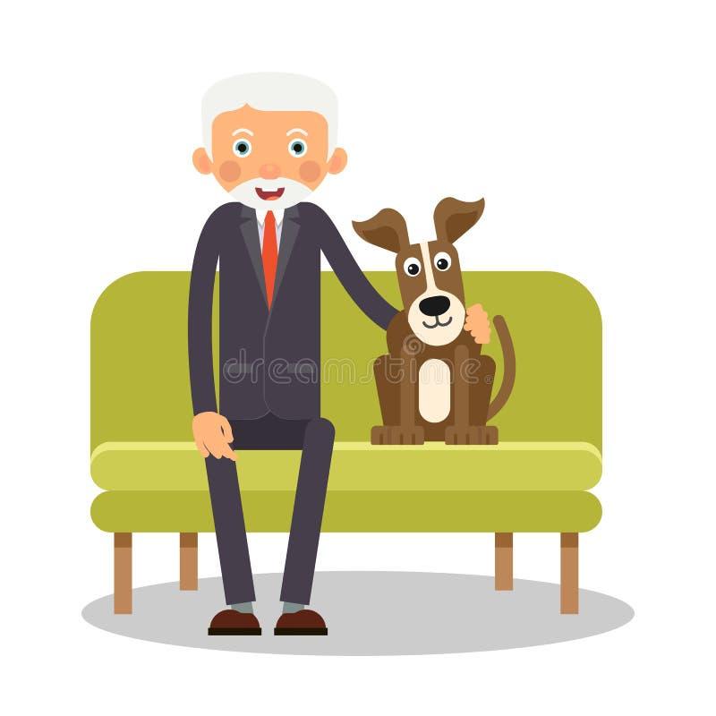 Na kanapie siedzi starsze osoby mężczyzna i pies Portret starsze osoby z royalty ilustracja