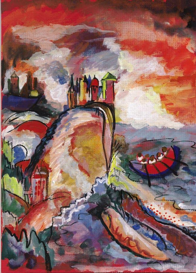Na Kandinsky ` s motywach royalty ilustracja