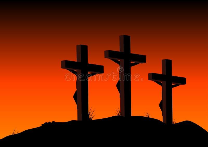 Download Na krzyżu ilustracja wektor. Obraz złożonej z potępia - 4351221