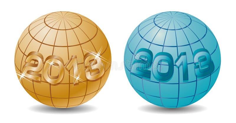 Na kuli ziemskiej nowy 2013 rok ilustracji