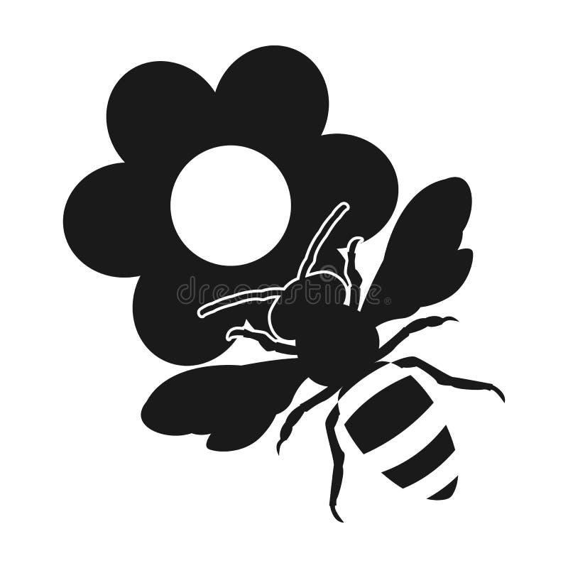 Na kwiatach pszczoła wyszczególniający miód odizolowywający macro brogował bardzo biel Płaska projekt ikona ilustracja wektor