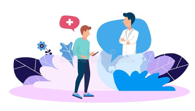 Na linha consulta médica Ajuda da emergência para prestar serviços de manutenção Doutor na chamada Molde do projeto do página da  ilustração do vetor