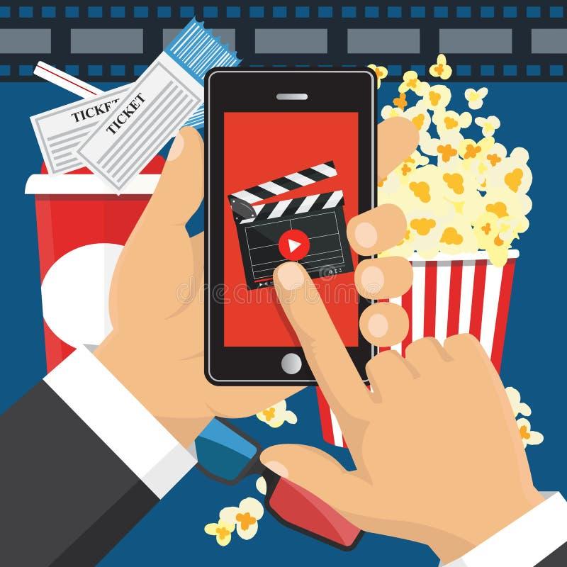 Na linha ordem de bilhetes do cinema Aplicação de Smartphone ilustração royalty free