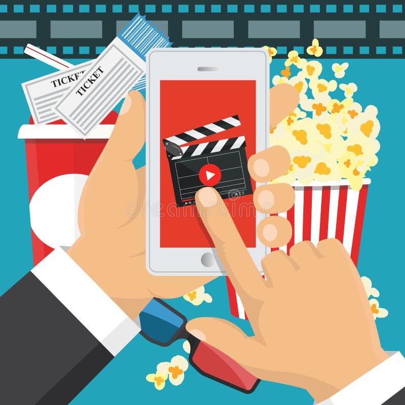 Na linha ordem de bilhetes do cinema Aplicação de Smartphone Vetor ilustração stock