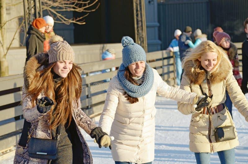 Na lodowym lodowisku miasto obrazy royalty free