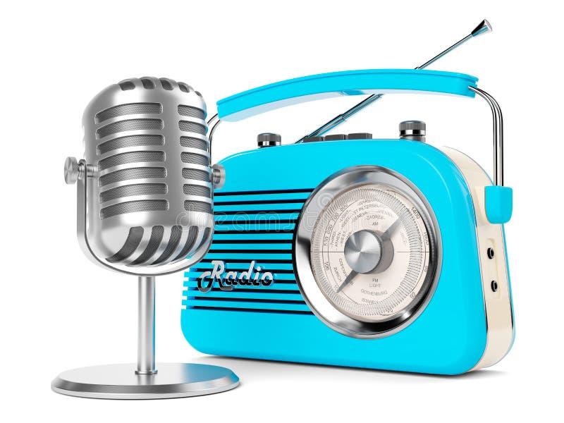NA LOTNICZEGO radiowego mikrofonu rocznika fm transmitowania wywiadu retro nadajniku ilustracja wektor