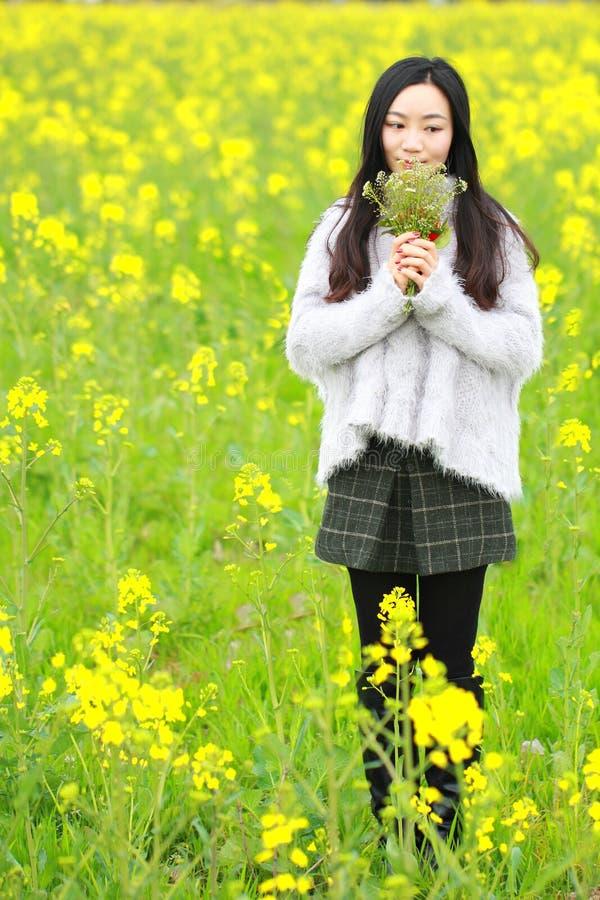Na mola adiantada bonita, um suporte da jovem mulher no meio das flores amarelas da violação arquivou que fosse o mais grande em  fotografia de stock royalty free