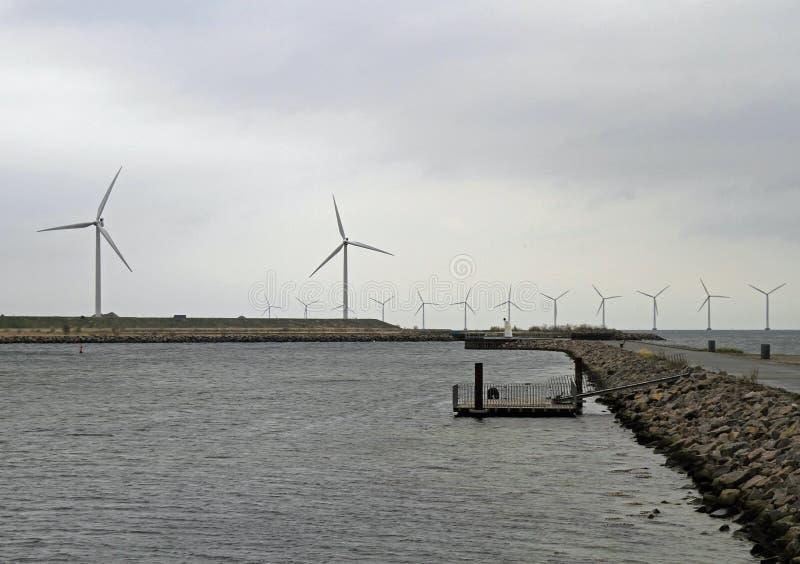 Na morzu silniki wiatrowi przy morzem w Kopenhaga obraz royalty free