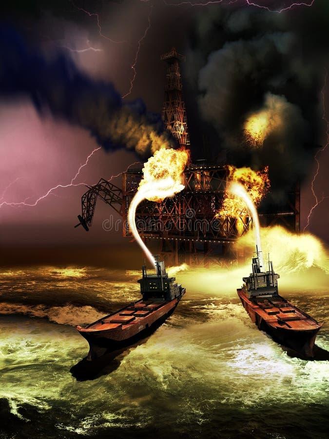 Na morzu wieża wiertnicza na ogieniu royalty ilustracja