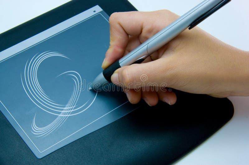 Na ochraniaczu ręki writing zdjęcie stock