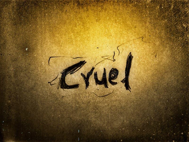 na página cor amarelo-claro a palavra em inglês cruel escrita a lápis foto de stock