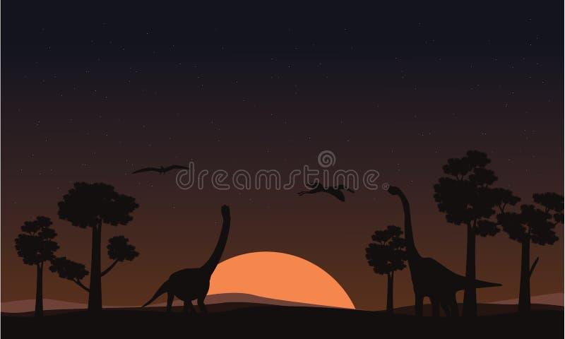 Na paisagem do brachiosaurus do por do sol das silhuetas ilustração royalty free