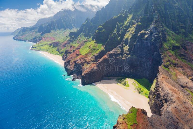 Na Pali coûté sur l'île de Kauai images libres de droits