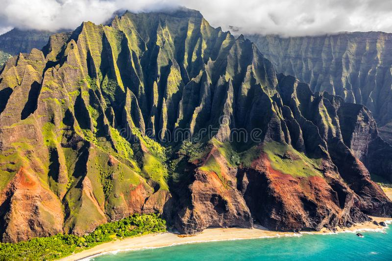 Na Pali Kauai Hawaii coast helicopter aerial view royalty free stock photos