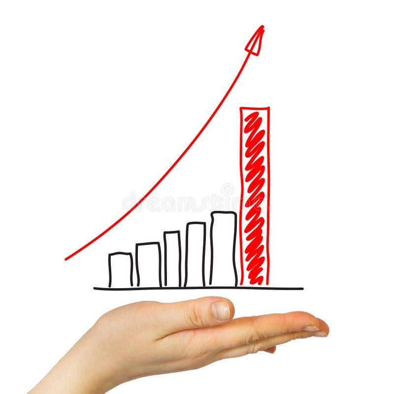 Na palma da mão é um gráfico do crescimento fotos de stock royalty free