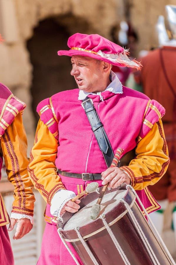 Na parada de Guardia em Cavalier do St. Jonh em Birgu, Malta. foto de stock