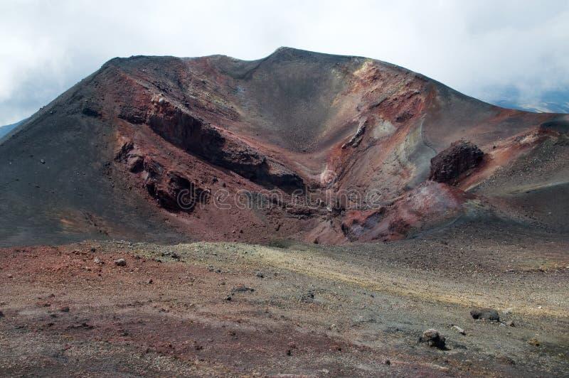 Na parte superior do vulcão de Etna fotografia de stock