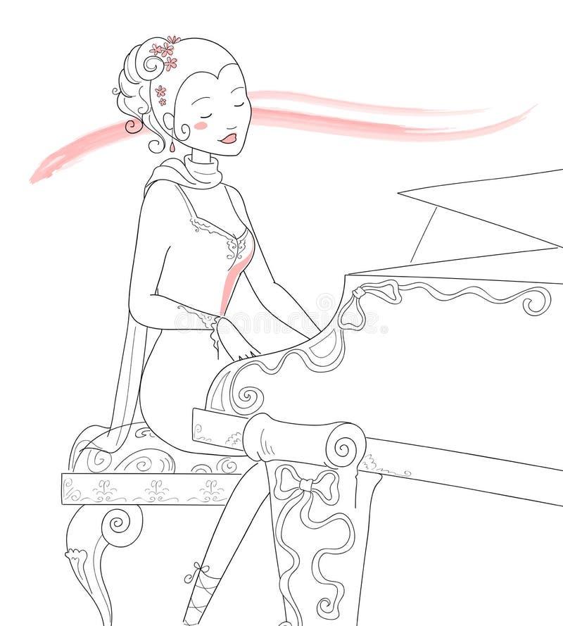 na pianinie ilustracyjny zawodnika wektora royalty ilustracja