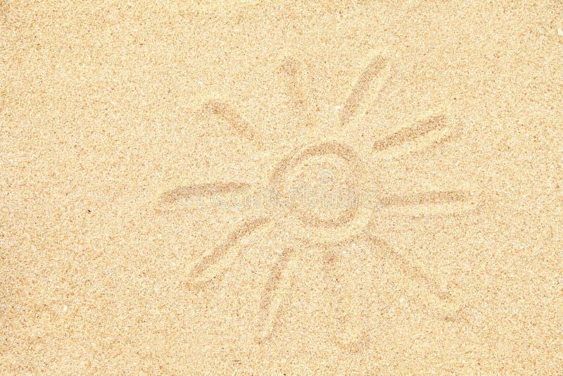 Na piasku słońce rysunek zdjęcia royalty free