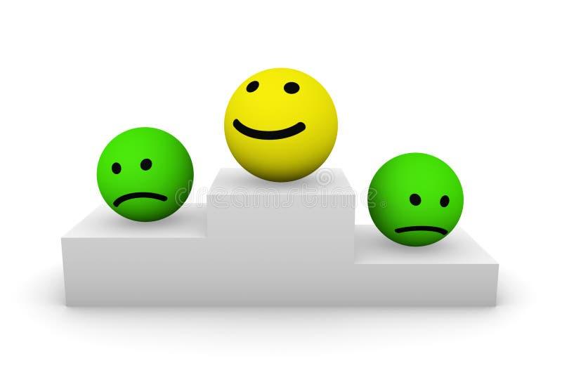 Na piedestale Smiley piłki ilustracja wektor