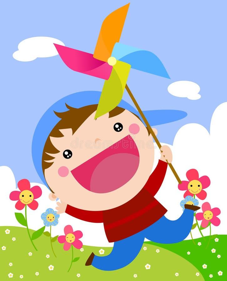 Na pinwheel chłopiec dmuchanie ilustracja wektor