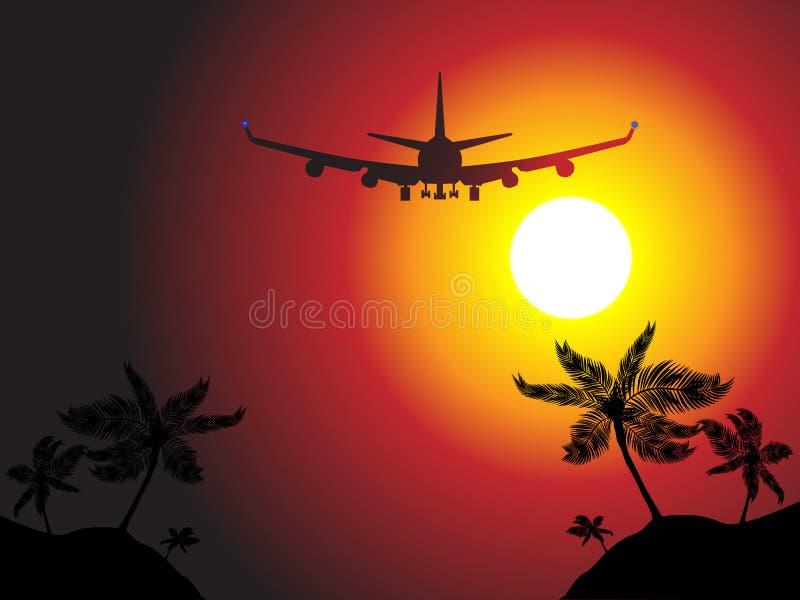 na plaży powietrza latać nad samolotem royalty ilustracja