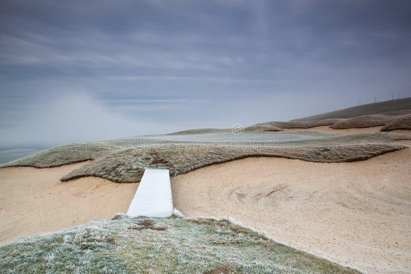 Na polu golfowym w zimie obrazy stock