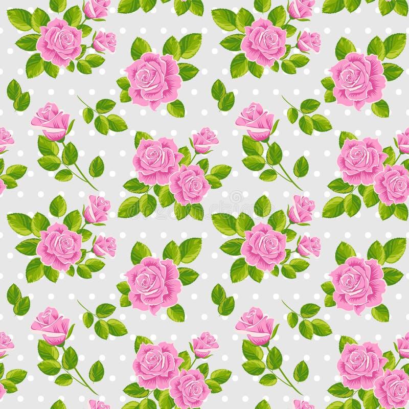 Na popielatym tle różowe róże ilustracji