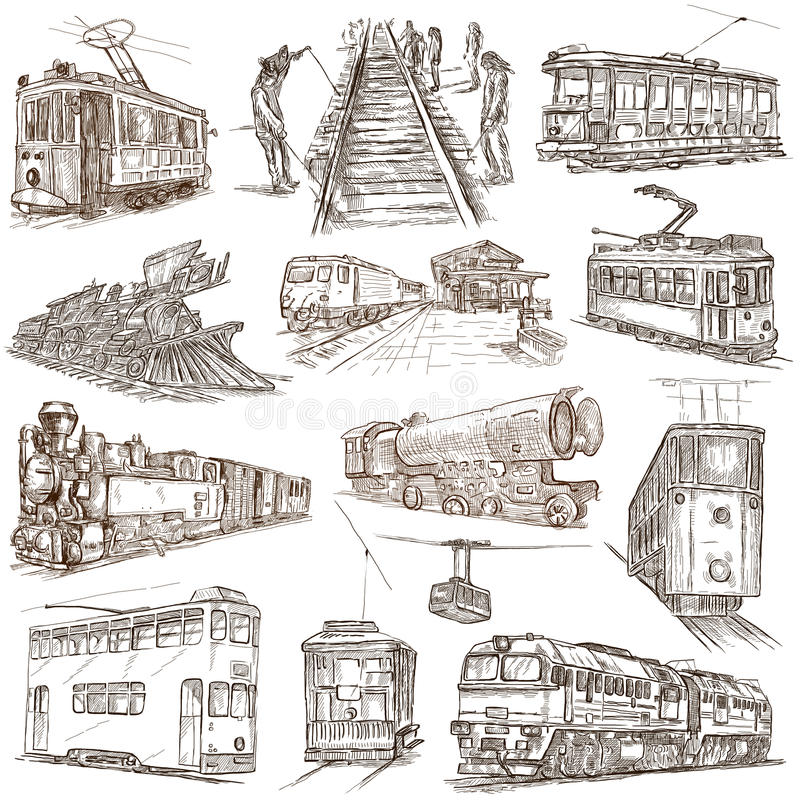 Na poręczach Freehands, ręka rysująca kolekcja Kreskowa sztuka ilustracji