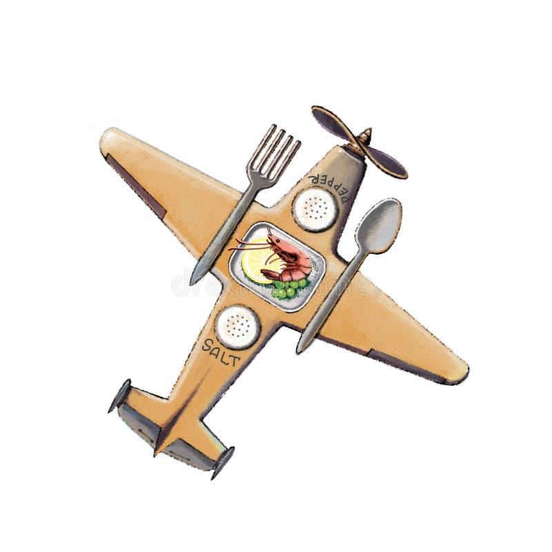 Na posiłkach na samolocie Samolot z łyżką i rozwidleniem ilustracja wektor