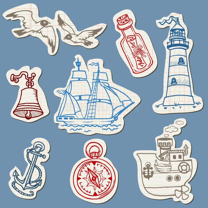 Na Poszarpanym Papierze nautyczni doodles ilustracji