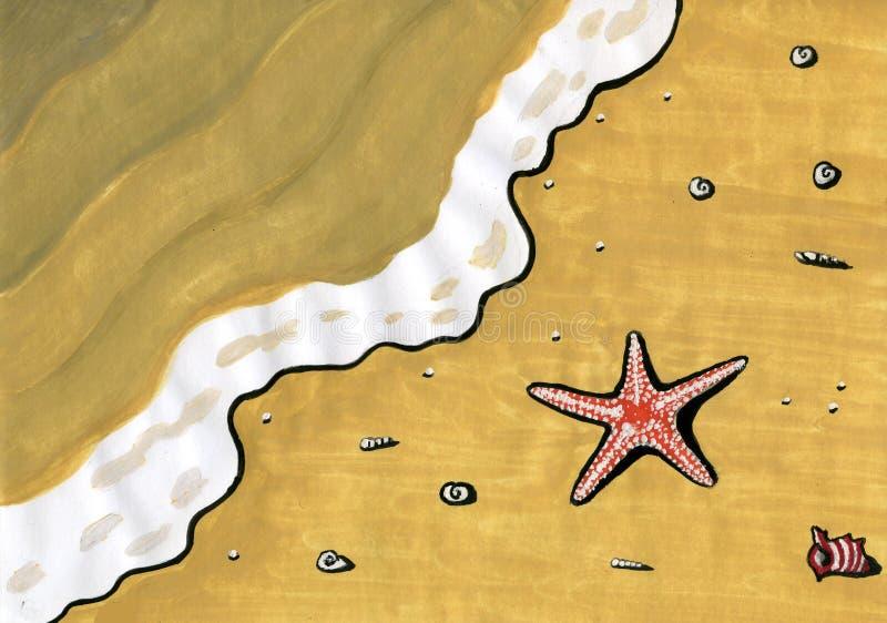 Na praia ilustração royalty free