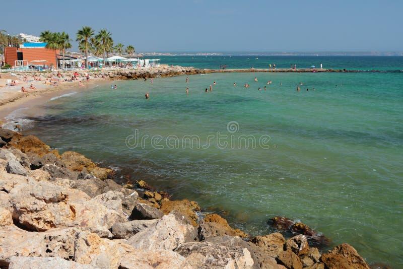Na praia do Anima Palma de Maiorca, Espanha foto de stock royalty free