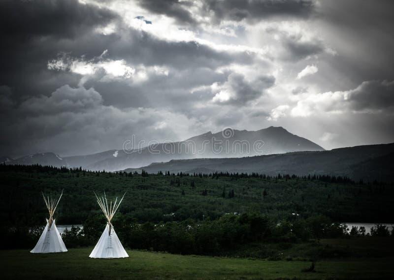 Na regendag in Gletsjer nationaal park stock foto