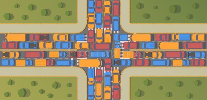 Na rozdrożu ruch drogowy dżem Wielki przekrwienie samochody Odgórnego widoku mieszkania ilustracja royalty ilustracja