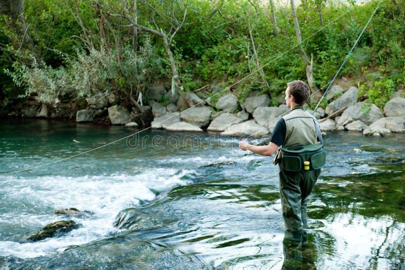 Na rzece rybaka połów zdjęcia royalty free