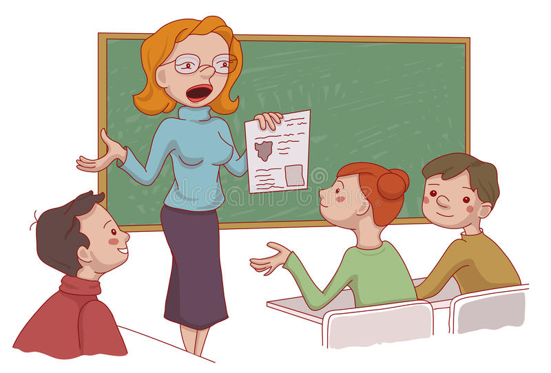 Na sala de aula ilustração royalty free