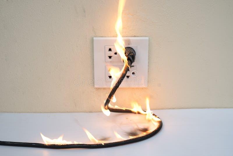 Na separação elétrica da parede do receptáculo da tomada do fio do fogo imagem de stock