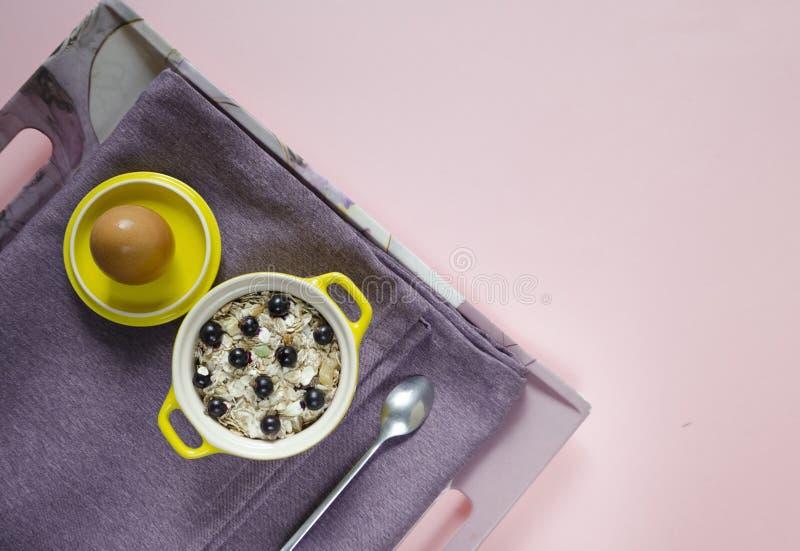 Na tacy oatmeal w żółtym garnku, jajku, muesli z świeżymi czarnymi jagodami i rodzynkach na purpurowej pielusze na różowym tle, fotografia royalty free