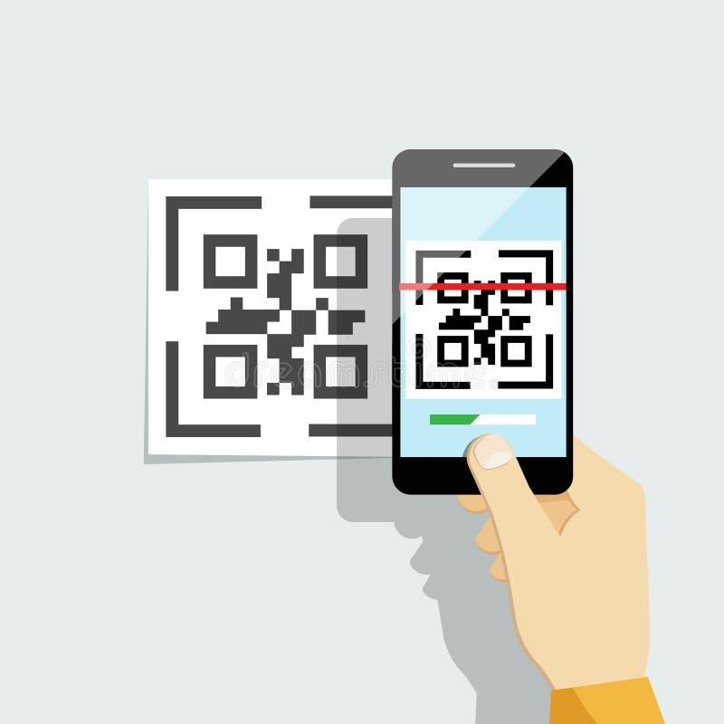 Na telefon komórkowy zdobycza kod QR royalty ilustracja
