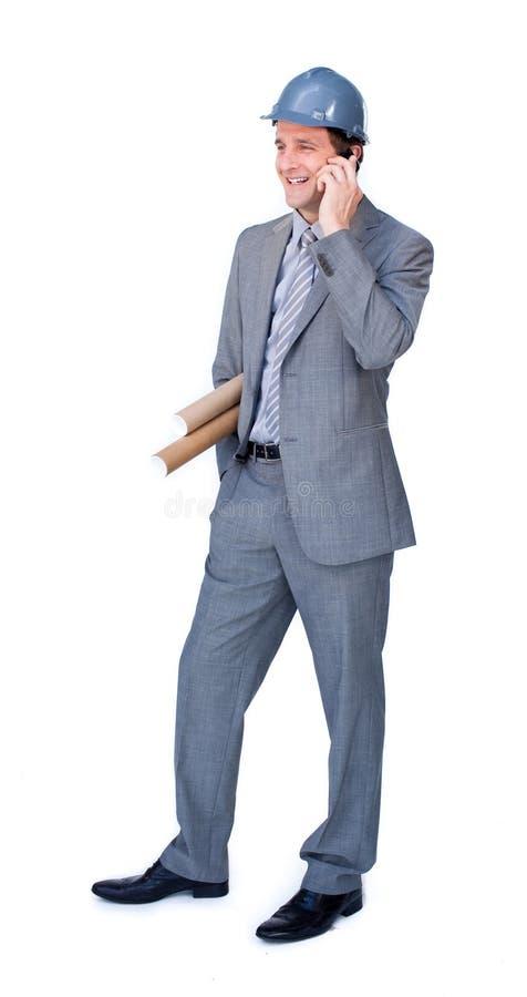 Na telefonie pozytywny architekt zdjęcia stock